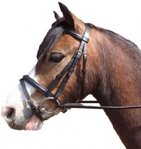 Leather Flash Bridle with Rubber Reins